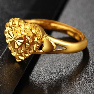传世美钰 黄金戒指女士婚戒仿钻桃心闪亮款黄金活口婚戒花纹随机 4.26克