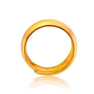 CHOW TAI FOOK 周大福 婚嫁 足金黄金戒指 对戒男女款 F30886 198 约13.68克