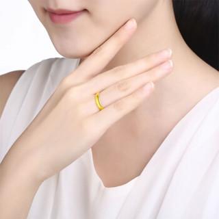 ZLF 周六福 珠宝女款时尚简约光面足金活口黄金戒指 AA010916 约3.76g