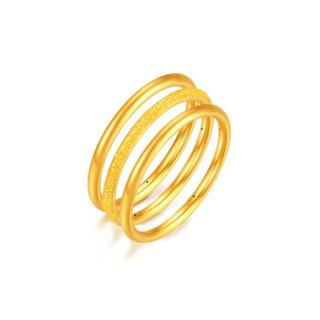 XIZHAO 喜兆 黄金戒指三生三世时尚光圈精品3D硬金多环情侣款男女三环对戒 情侣款3.2-3.3克(16号圈)