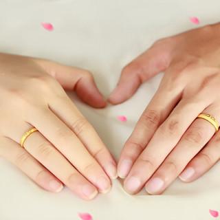 晴爱 黄金戒指 足金结婚情侣对戒 爱你一万年紧箍咒情侣戒指 男女款活口可调节可刻字 女戒A款约2.5g