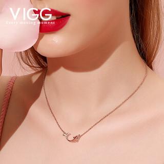 VIGG 鱼生有你项链女士纯银玫瑰金锁骨链情侣网红吊坠小众设计饰品 海豚之恋项链(电镀玫瑰金色) GD732
