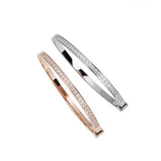希嘉曼 轻奢品牌手镯女玫瑰金色半圈满钻镀彩金韩版手链女   XJM61703