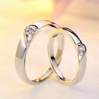 JIANDAN 简丹 925银戒指 情侣戒指对戒一对价活口可调节 一心一意
