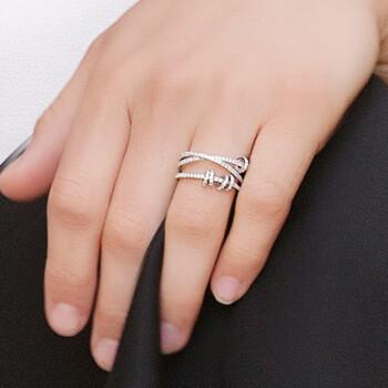 APM Monaco 时尚穿孔灵动圈圈戒指 时尚三圈指环银首饰 个性男女食指戒指饰品 经典银 50    A17574OX