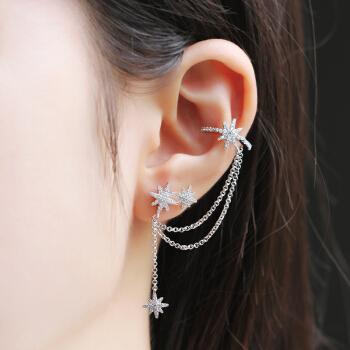 APM Monaco AE11547OX 单只星星流星链条耳钉女耳夹 ins风气质时尚耳环耳坠个性银饰品潮 银色
