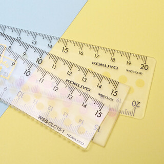 日本国誉(KOKUYO)淡彩曲奇亚克力波浪直尺15cm  160*3082mm 颜色随机1个装 WSG-CLC15-1