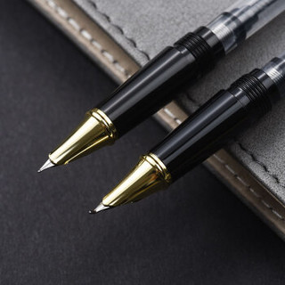 英雄(HERO)1520绒砂多彩细尖铱金钢笔/特细钢笔/美工笔 三合一 男女款办公礼品墨水礼盒套装 黑色