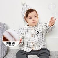 迷你巴拉巴拉童装婴儿便服冬新款带帽子格子充棉加厚保暖外套 *2件