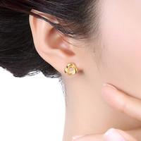 六福珠宝 GDG50098 足金缠绕黄金耳钉女款小耳饰