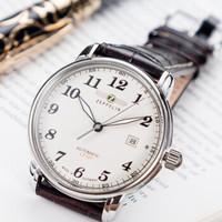 Zeppelin 齐博林 德国进口手表商务男士手表真皮皮带钢带机械表手表男 商务米盘7656-5  7654