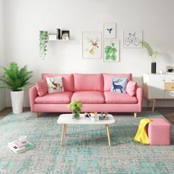 北欧布艺客厅整装多色可选小户型沙发三人位实木框架