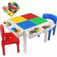兔妈妈积木桌 大颗?;咀?2椅子+4挂桶+增高脚+防水塞+送百变滑道