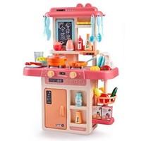儿童过家家喷雾厨房玩具女孩3-6岁可出水仿真做饭煮饭玩具套装礼物 家庭小厨房粉红色-喷雾款42件套