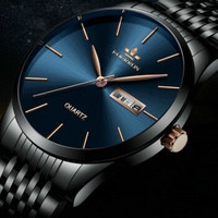 BAIDAFELY 手表男士日历时尚休闲商务男腕表泛蓝光玻璃黑色钢带石英表 蓝面黑带