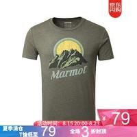 土拨鼠(Marmot) 春夏新款透气圆领宽松棉短袖户外t恤短袖男 4480橄榄绿花灰色 S 欧码偏大