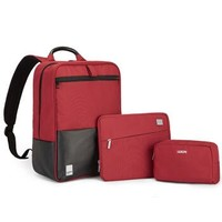 法国乐上(LEXON)双肩电脑包14英寸女商务笔记本背包平板IPAD收纳包三件套装组合  红色
