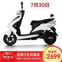 雅迪(yadea)电动车豪战加长版电瓶车成人男女代步车电动摩托车 精致版白色