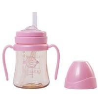 格罗咪咪Grosmimi吸管杯婴儿童学饮杯PPSU进口宝宝水杯防漏防摔 樱花粉200ML
