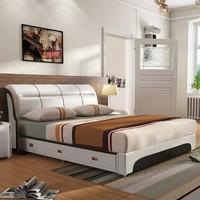 忆斧至家 软体皮艺双人床 皮床+天然山棕床垫+2柜 1.8米