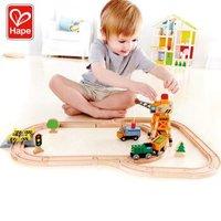 Hape轨道车儿童火车轨道玩具木质积木拼插起重机吊塔小火车套装 +凑单品