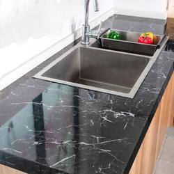 厨房防油贴纸耐高温防水防油自粘大理石黑白花 3米*60厘米