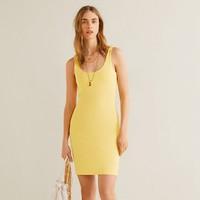MANGO 41069086 女装 纯色弹力面料修身吊带连衣裙短裙