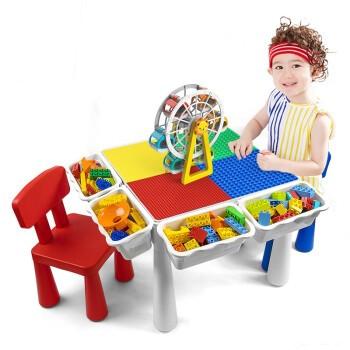 VANGO  万高 多功能积木桌  大颗粒桌2椅+4收纳桶+4增高脚垫+85颗粒滑道积木
