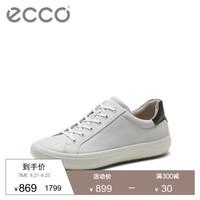 ECCO爱步夏季男鞋休闲小白鞋透气板鞋 新意431044 白色43104459389 41