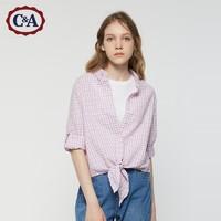 C&A休闲系带短款七分袖肌理格子衬衫女士夏季CA200216854-UL