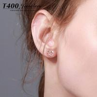 T400 81056 玫瑰金色 双C耳钉 *3件