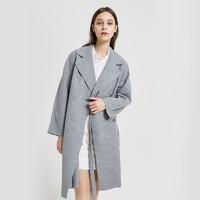MECITY女系带chic羊毛混纺简约气质休闲中长款风衣