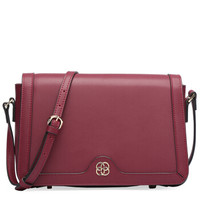 HONGU/红谷新款女包时尚单肩包 百搭牛皮小方包 纯色简约女士斜挎包 横款 中紫色