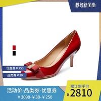 FERRAGAMO/菲拉格慕女士多色漆皮蝴蝶结饰高跟鞋单鞋