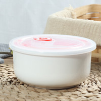 单个5寸大纯白色骨瓷微波炉适用保鲜碗水果带盖碗陶瓷密封碗学生家用 纯白保鲜碗(中号) 直径12.8cm高6cm