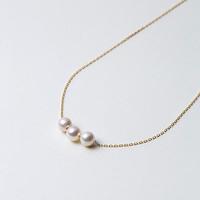 Maria 6mm 阿古屋海水珍珠 18K金项链 3颗珠 42cm
