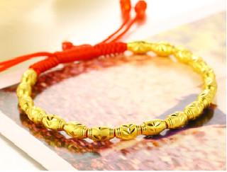 Red Year 红色年轮 情侣款转运珠黄金手链  【款式一】红绳款