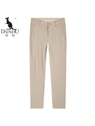 袋鼠(DAISHU)2019夏季新款 纯色修身简约休闲亚麻裤 DSA2V067A