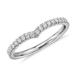 Blue Nile 铂金经典V形钻石戒指 1/5克拉总重量