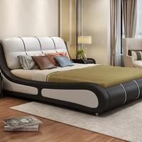 忆斧至家 双人软体床 皮床+5D乳胶床垫+2柜 1.8米