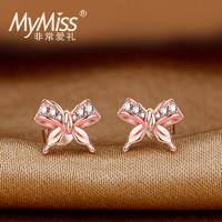 Mymiss 925银蝴蝶结耳钉