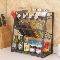 多功能厨房置物架  黑色三层斜底