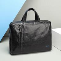 金利来(Goldlion)商务公文包 横款牛皮手提包电脑包休闲男包 黑 FA184053-211