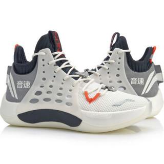 李宁 LI-NING 音速VII男子一体织透气中帮篮球专业比赛鞋ABAP019-2 乳白色/冷檀黑 42