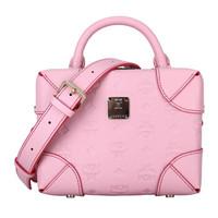 MCM 女士粉色牛皮革logo款手提单肩斜挎小箱包 MWR9SBF25QB001