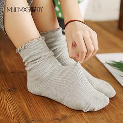 喵吖夏季薄款女袜子日系木耳花边森系可爱抽条纯色中筒袜堆堆 灰色 三双装 均码 *2件