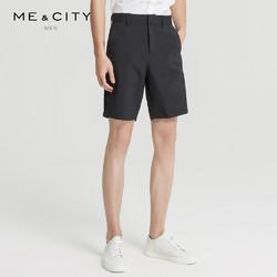 MECITY男装夏季黑色侧缝织带拼接运动短裤男士潮流休闲裤男