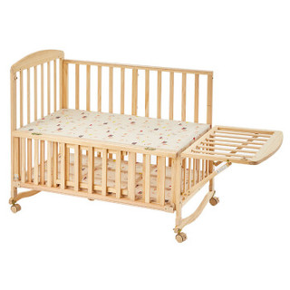 hd小龙哈彼 婴儿床多功能实木无漆新生儿宝宝童床 可加长拼接大床可做书桌游戏摇床LMY118-P117(送蚊帐)