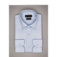 Massimo Dutti EASY IRON系列 00152352403 斑纹素色修身衬衫男士正装衬衣 (天蓝色)