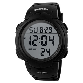skmei 时刻美 手表男士运动表多功能学生夜光电子表 1068黑色